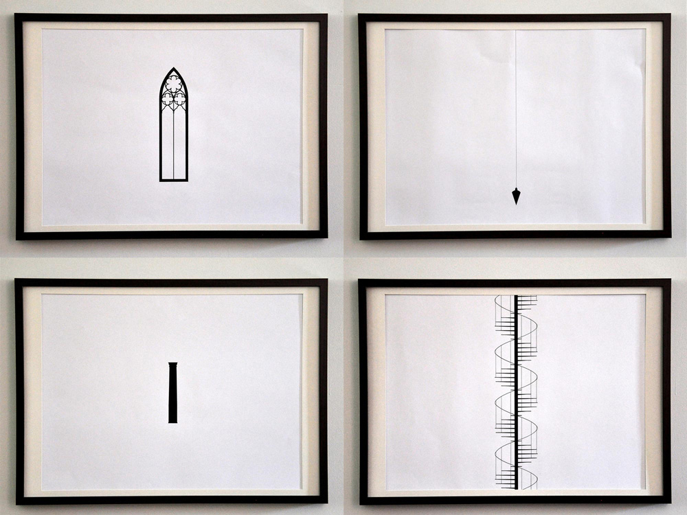 "Archi-types Ink on paper 25""x19"" each"